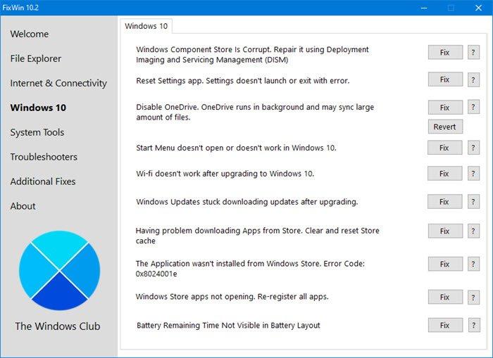 FixWin 10 pour Windows 10