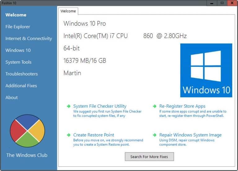Téléchargez FixWin 10 pour Windows 10 gratuitement