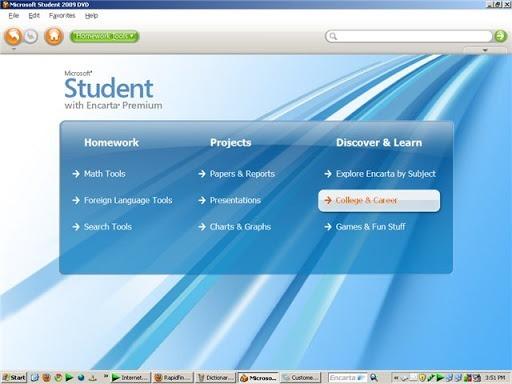 Étudiant Microsoft avec Encarta Premium 2009 pour Windows